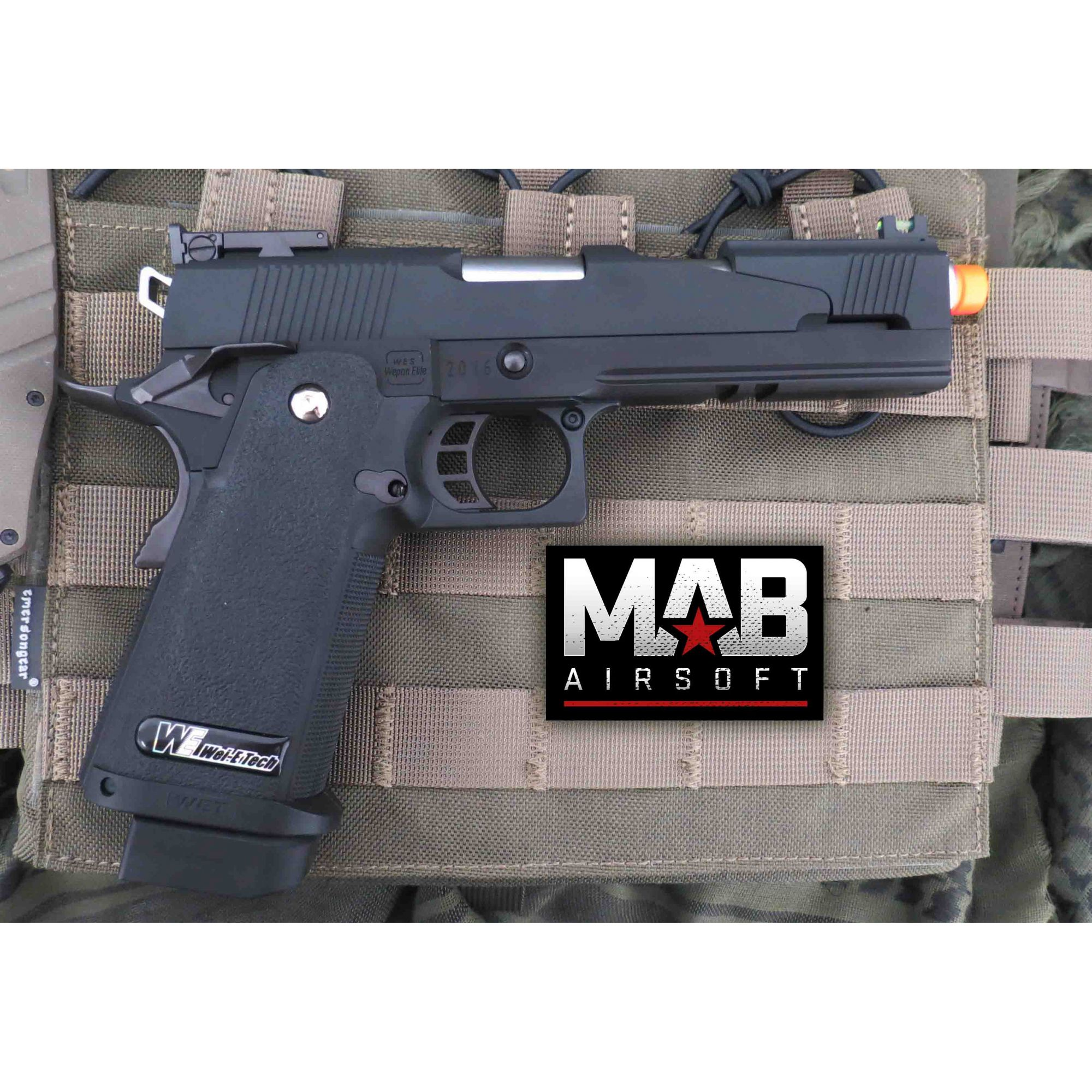Pistola Airsoft WE Hi-Capa 5.1 A Black Dragon GBB Full Metal Preta - Calibre 6 mm  - MAB AIRSOFT