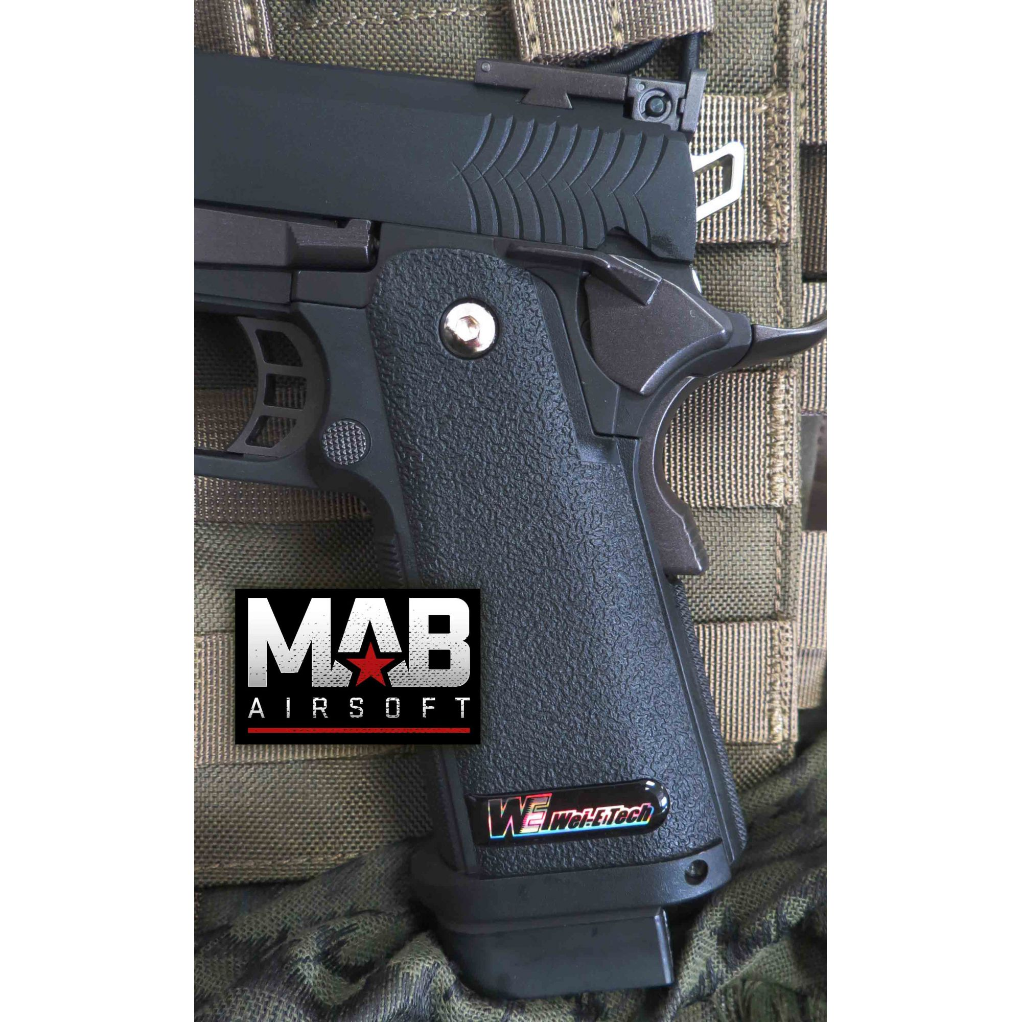 Pistola Airsoft WE Hi-Capa 5.1 K1 Lightened GBB Full Metal Preta - Calibre 6 mm  - MAB AIRSOFT
