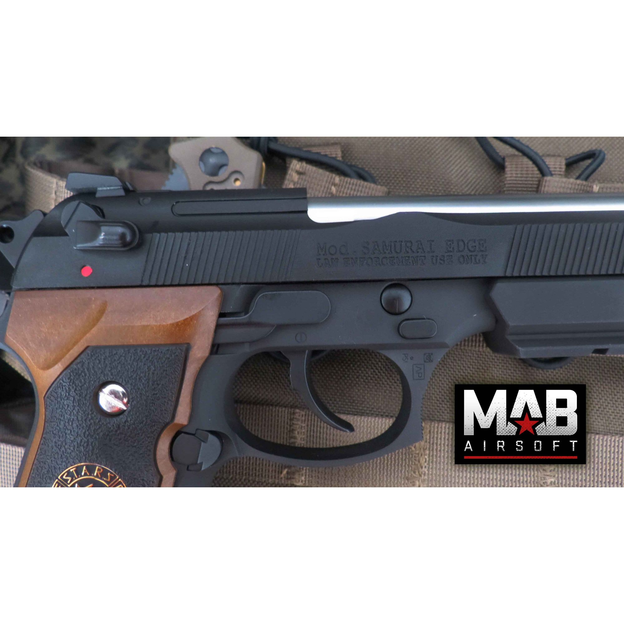 Pistola Airsoft WE M92 Bioharzard Extend Black B.Burton - Calibre 6 mm - MAB AIRSOFT