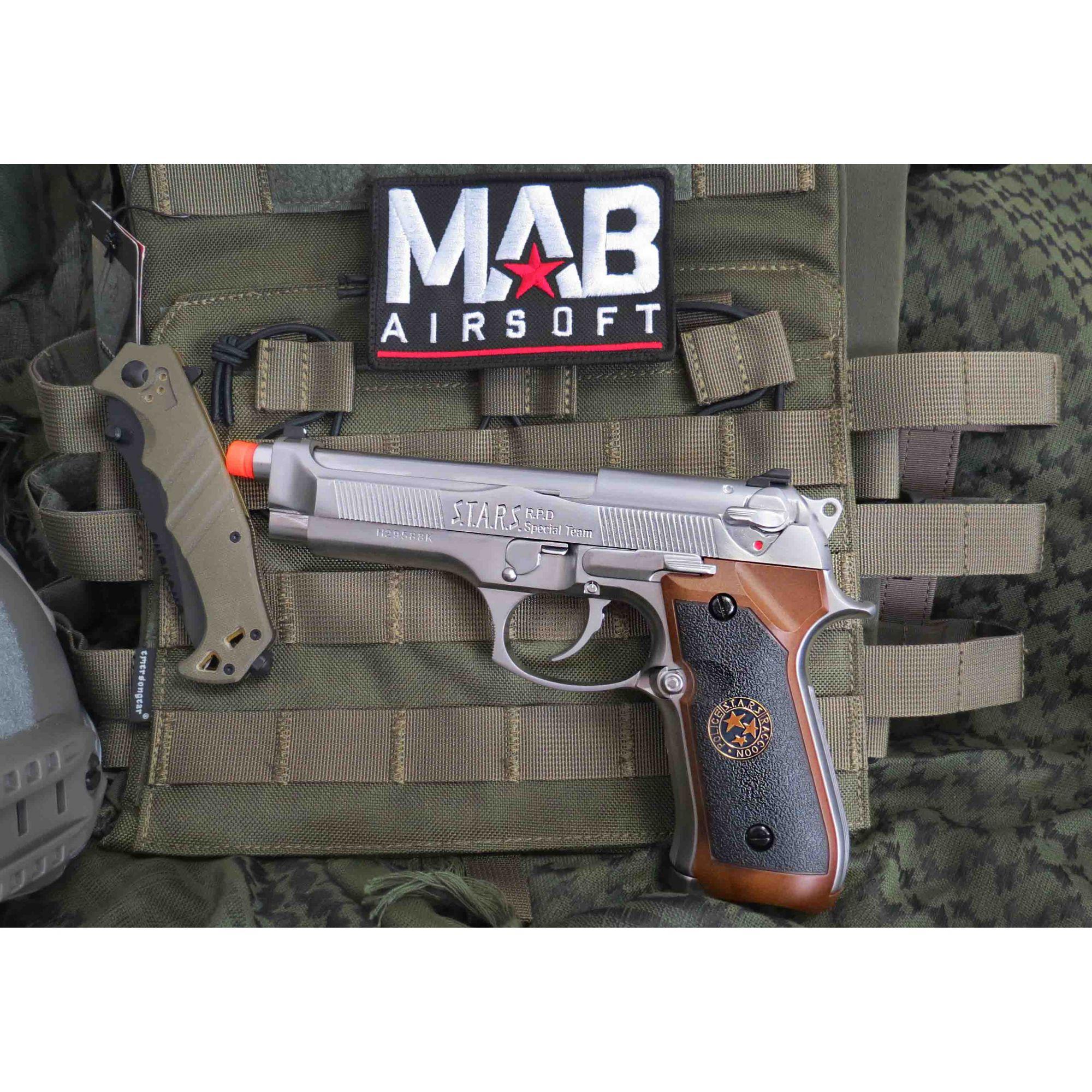 Pistola Airsoft WE M92 Bioharzard Gen. 2 Chrome - Calibre 6 mm