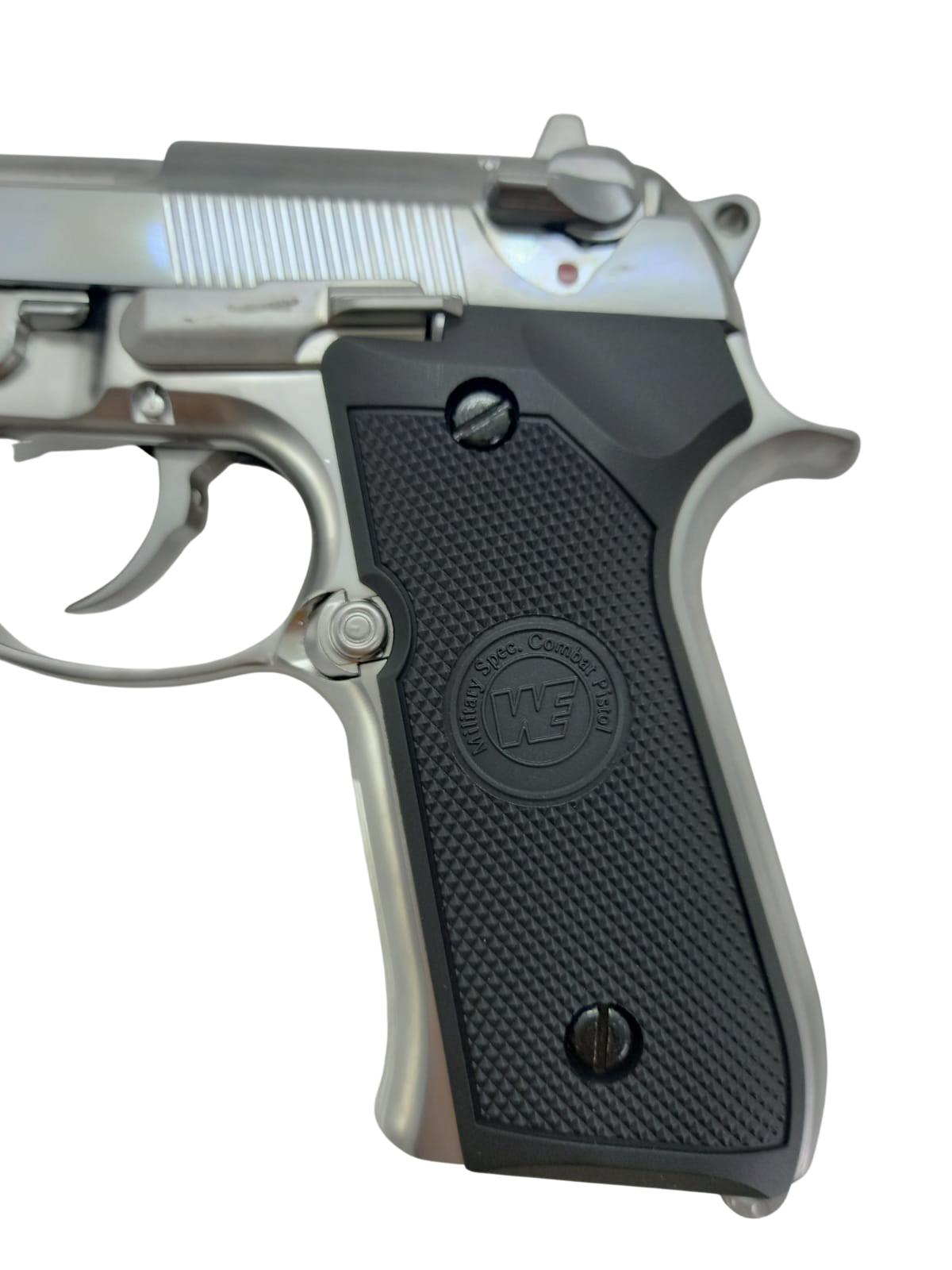 Pistola Airsoft WE M92S Chrome GBB Full Metal - Calibre 6 mm  - MAB AIRSOFT