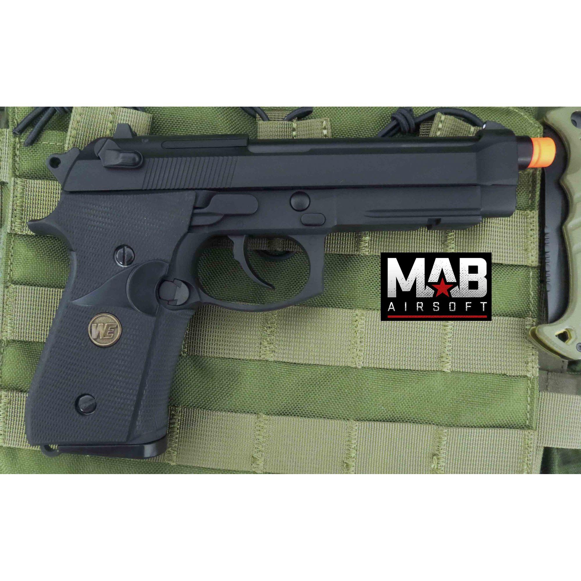Pistola Airsoft WE M9A1 USMC GBB Full Metal Preta - Calibre 6 mm