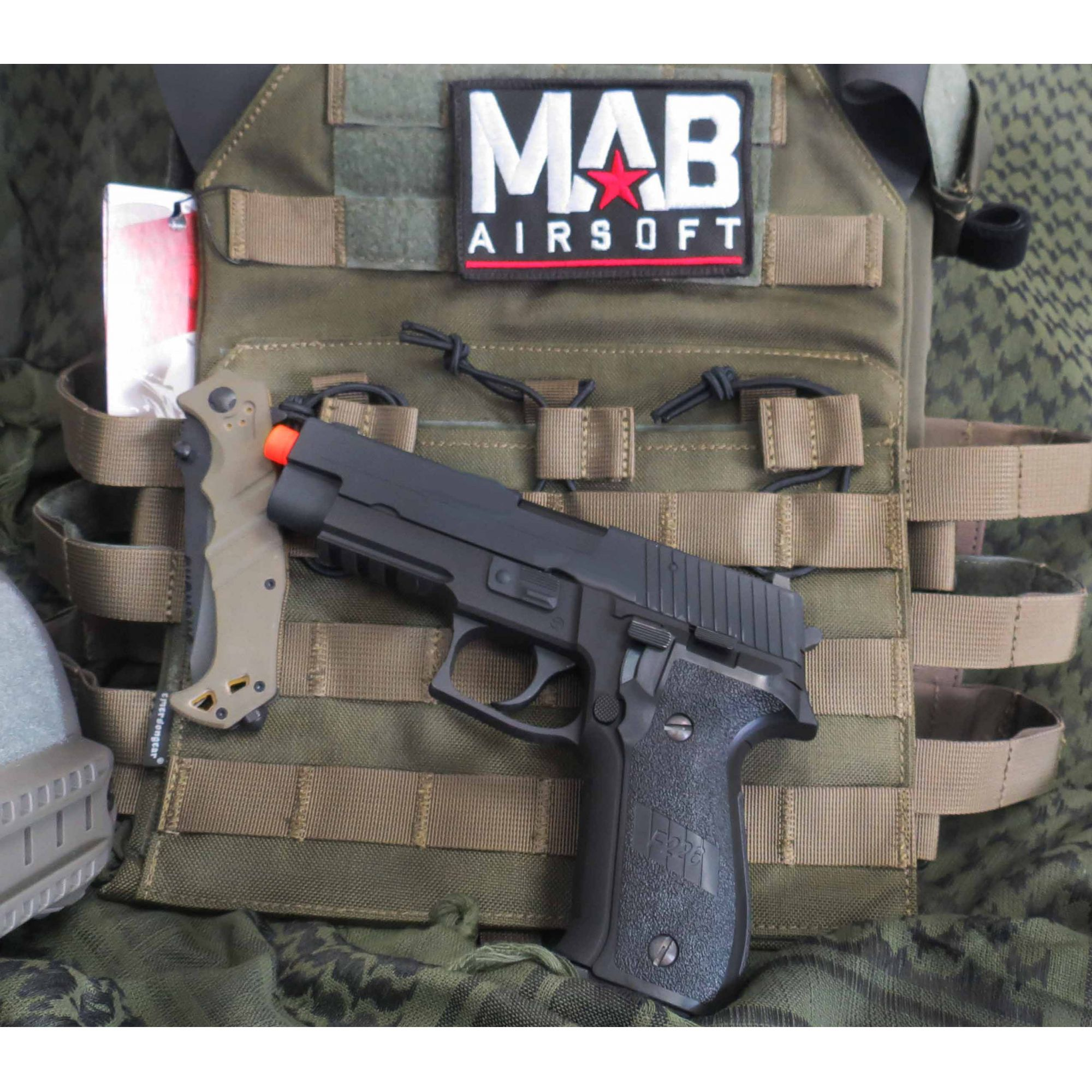 Pistola Airsoft WE Sig Sauer P226 Tactical GBB Full Metal Preta - Calibre 6 mm  - MAB AIRSOFT