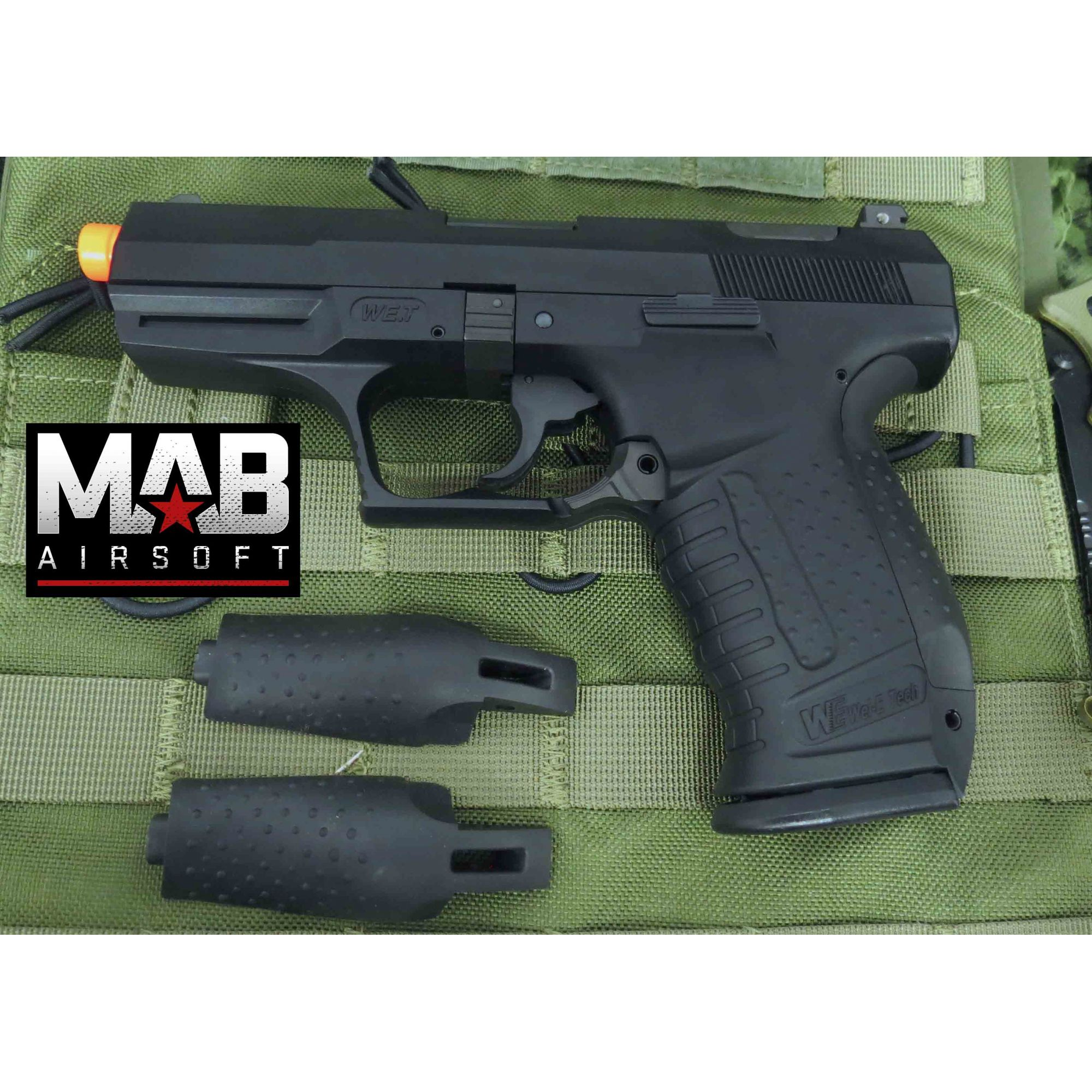 Pistola Airsoft WE TTI God of War GBB Full Metal Preta - Calibre 6 mm