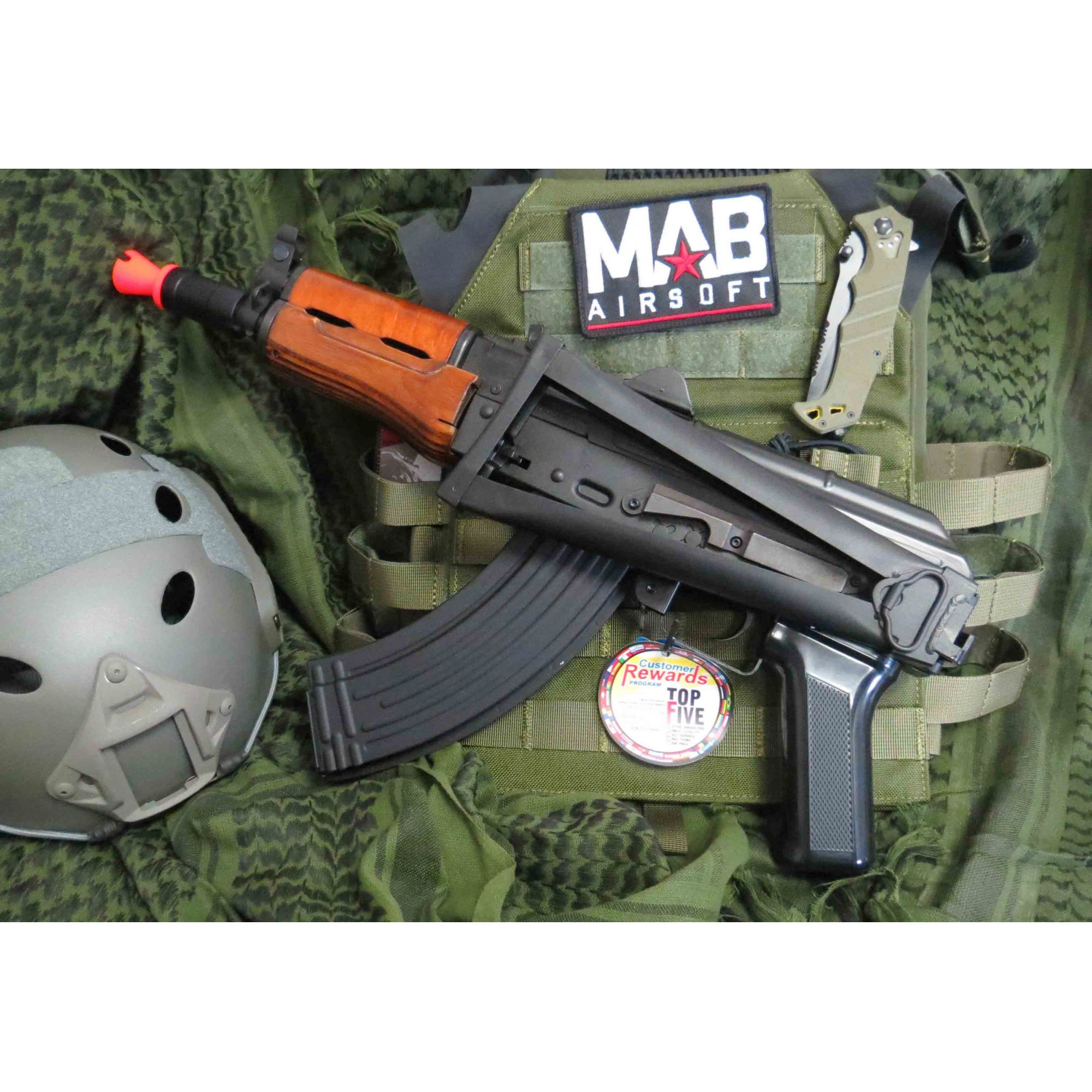 Rifle Airsoft AEG G&G AK GKS74U Full Metal e Madeira Real - MAB AIRSOFT