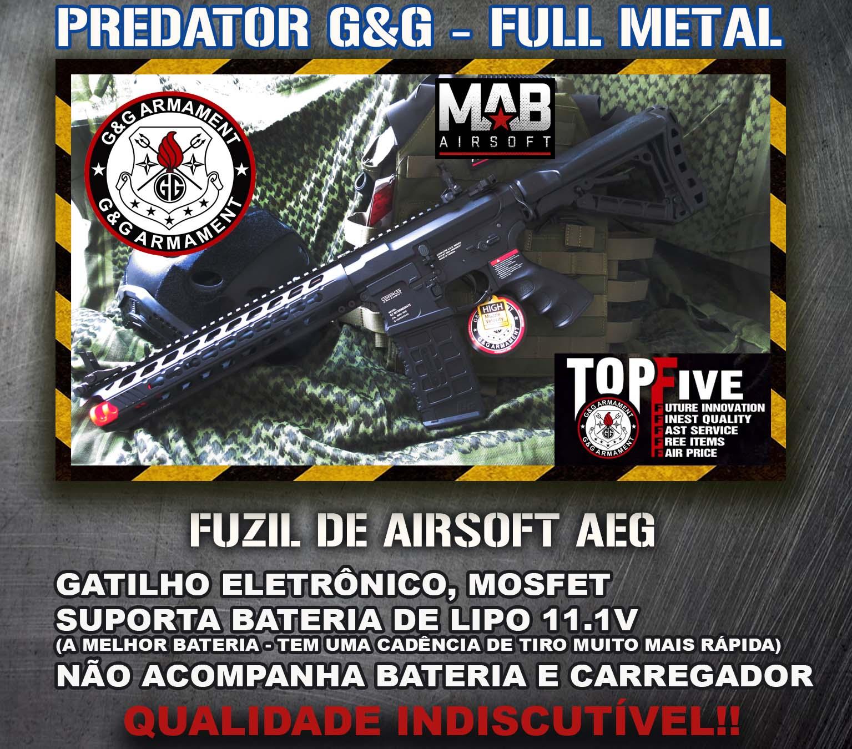 Rifle Airsoft AEG G&G M4 Predator GC16 Full Metal  - MAB AIRSOFT