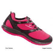 Tênis De Segurança Feminino Hft Fujiwara Pink/Preto Com Cadarço