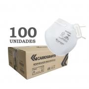 Kit Máscara Respiratória Descartável Classe PFF2 S Branca Caixa C/100 unidades