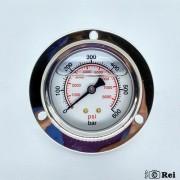 "Manômetro Orizontal Com Glicerina 600Bar 8000Psi Escala Dupla 1/4"" Npt"