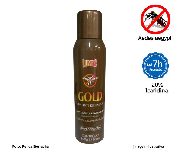 REPELENTE GOLD AEROSSOL 150ML C/ ICARIDIN - 7 HORAS  - Rei da Borracha