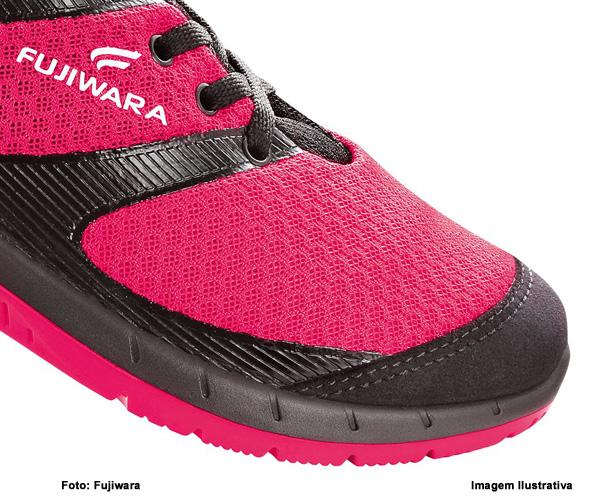 Tênis De Segurança Feminino Hft Fujiwara Pink/Preto Com Cadarço  - Rei da Borracha