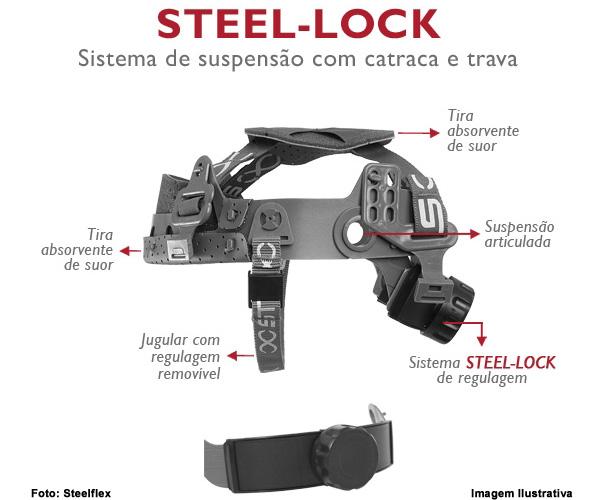 CAPACETE DE SEGURANÇA STEELFLEX TURTLE C/CARNEIRA STEEL-LOCK  - Rei da Borracha