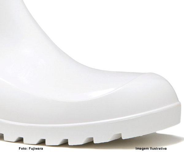 Bota De Pvc Fujiwara Cano Curto Branca  - Rei da Borracha