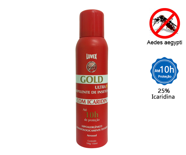 REPELENTE GOLD AEROSSOL 150ML C/ ICARIDIN - 10 HORAS  - Rei da Borracha