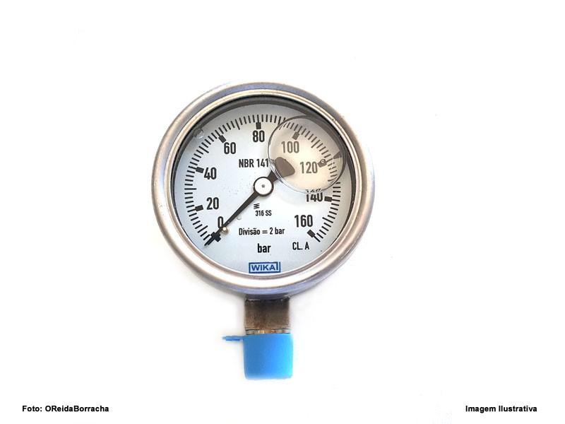 "Manômetro Com Glicerina 160Bar Escala Simples 1/4"" Npt  - Rei da Borracha"