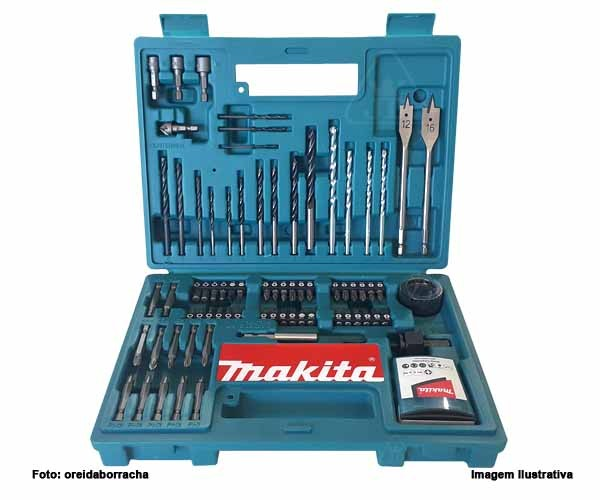Kit Acessórios Makita B-54879 com 100 Peças Brocas e Bits com Maleta   - Rei da Borracha