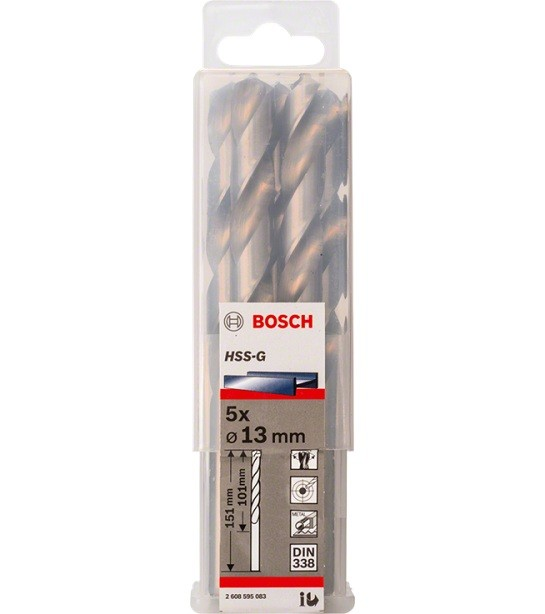 Broca Hss-G Para Aço Rápido 13mm Bosch (Unidade)  - Rei da Borracha