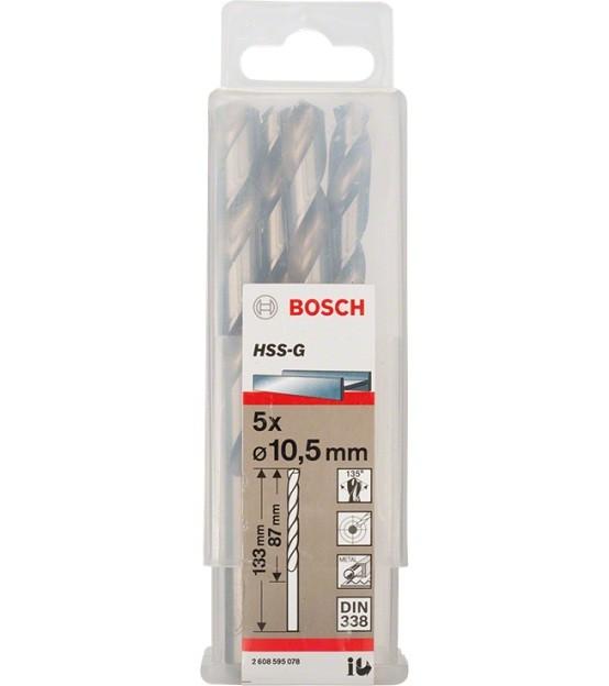Broca Hss-G Para Aço Rápido 10,5mm Bosch (Unidade)  - Rei da Borracha