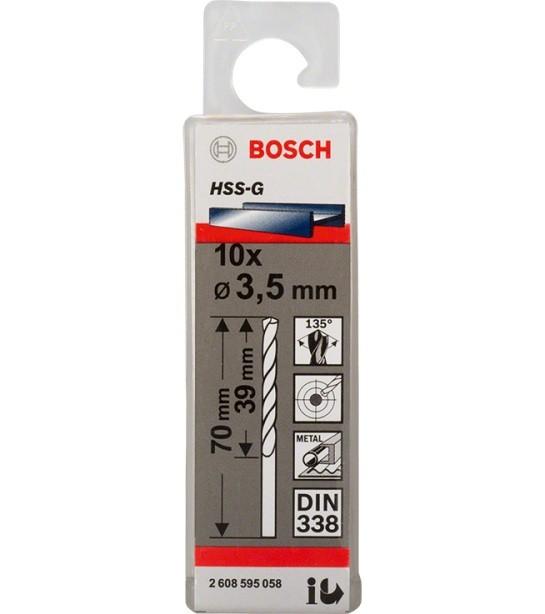 Broca Hss-G Para Aço Rápido 3,5mm Bosch (Unidade)  - Rei da Borracha