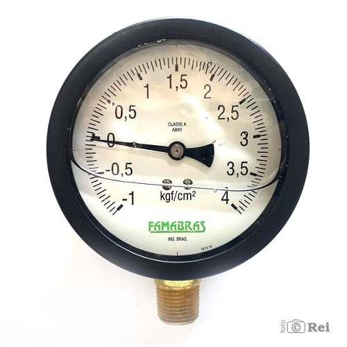 "Manovacuômetro Com Glicerina Rosca 4"" Escala -1Kgf/cm² á 4 Kgf/cm²  - Rei da Borracha"