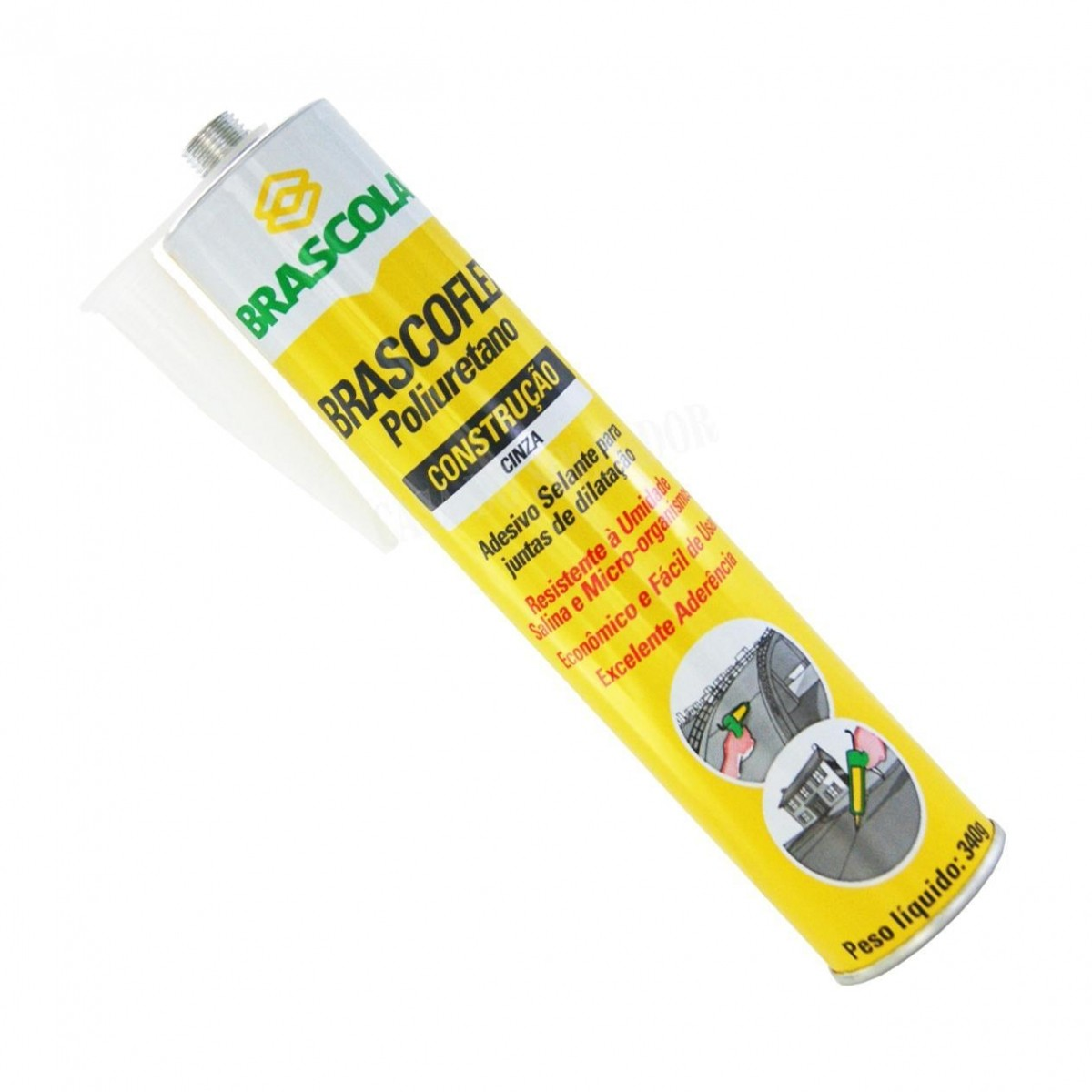 Adesivo Poliuretano Cinza Brascoflex 340g  - Rei da Borracha