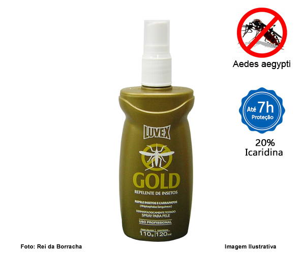 REPELENTE GOLD SPRAY 120ML C/ ICARIDIN - 7 HORAS  - Rei da Borracha