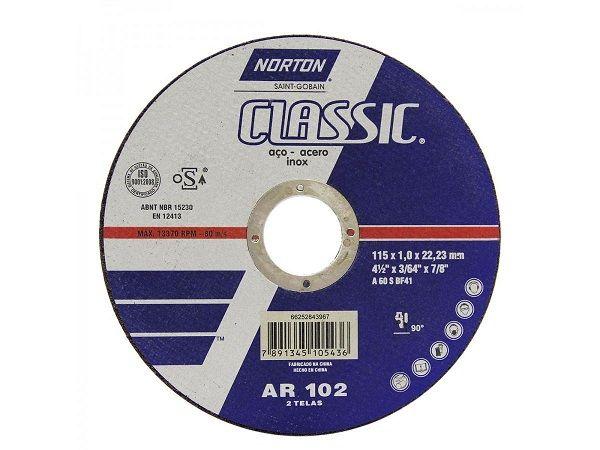Disco de Corte Norton Classic 115x1,0x22,23mm Duas Telas 25 Unidades  - Rei da Borracha
