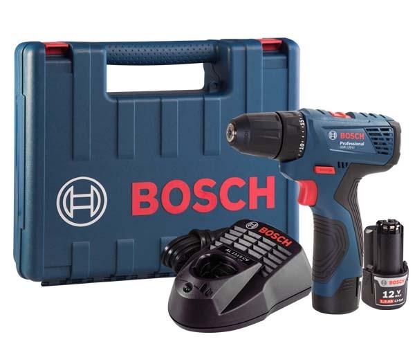 Furadeira/Parafusadeira A Bateria Gsr 120-Li Bosch Com Duas Baterias 12v E Carregador  - Rei da Borracha