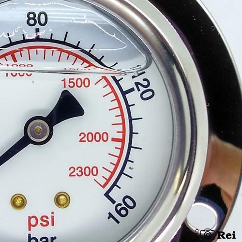 "Manômetro Orizontal Com Glicerina 160Bar 2300 Psi Escala Dupla 1/4"" Npt  - Rei da Borracha"