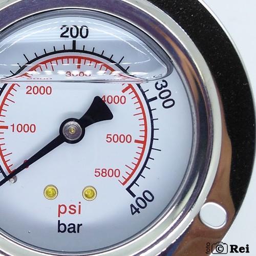 "Manômetro Orizontal Com Glicerina 400Bar 5800Psi Escala Dupla 1/4"" Npt  - Rei da Borracha"