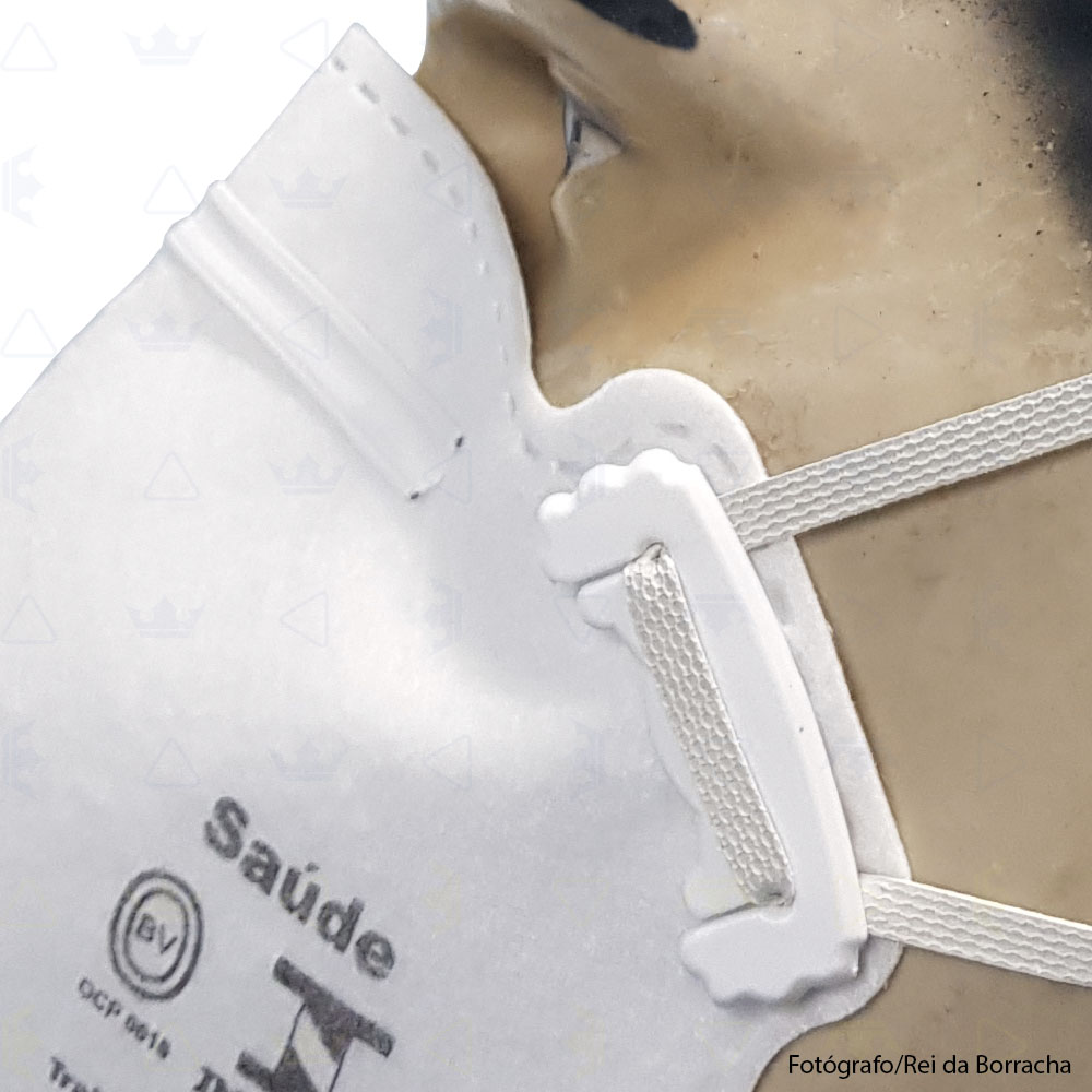 Máscara Respiratória Descartável Classe PFF2 S (N95) Branca Carbografite  - Rei da Borracha