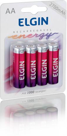 Pilha Recarregável Elgin AA Ni-MH 2700mAh c/4