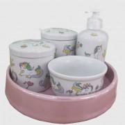 Kit de higiene em Louça 5 pç - Unicórnio