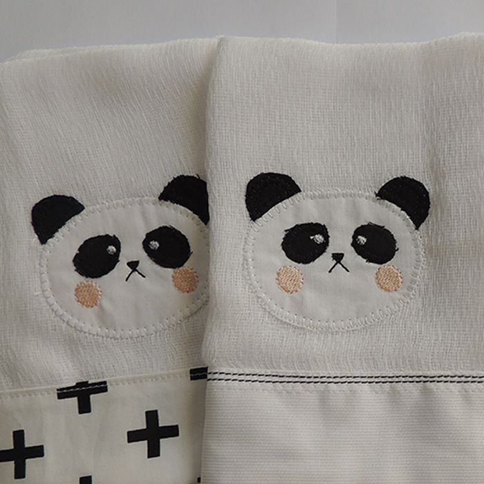Jogo fralda boca 3 peças - Panda  - Gatinhando Quarto dos Sonhos