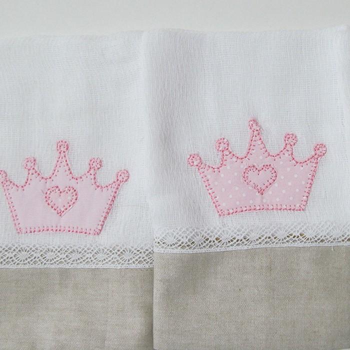 Jogo fralda boca coroa rosa Patch- 3 peças  - Gatinhando Quarto dos Sonhos