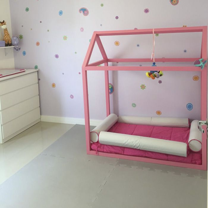 Kit 4 rolo para berço montessoriano - cinza/ rosa  - Gatinhando Quarto dos Sonhos