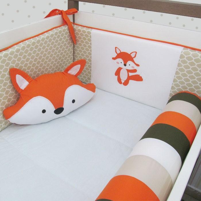 Kit de berço raposa 10 peças   - Gatinhando Quarto dos Sonhos