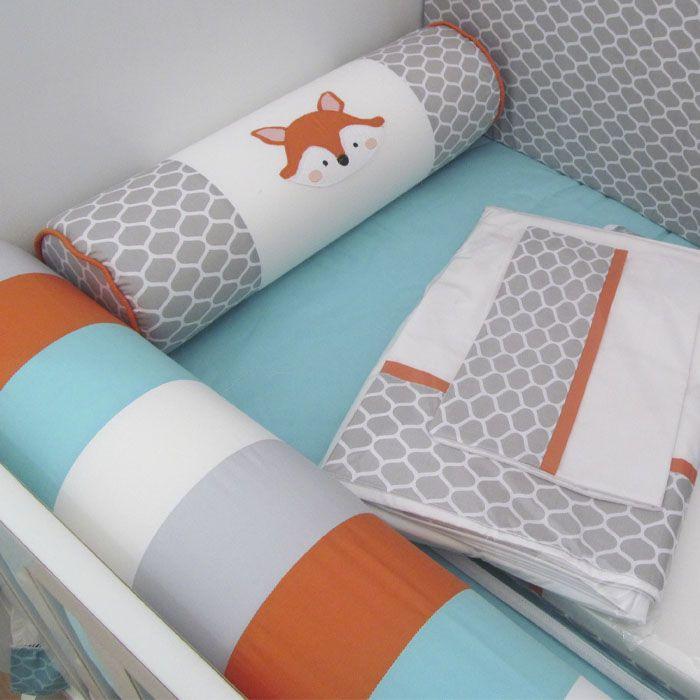 Kit de Berço Raposa 9 pçs - Tiffany  - Gatinhando Quarto dos Sonhos