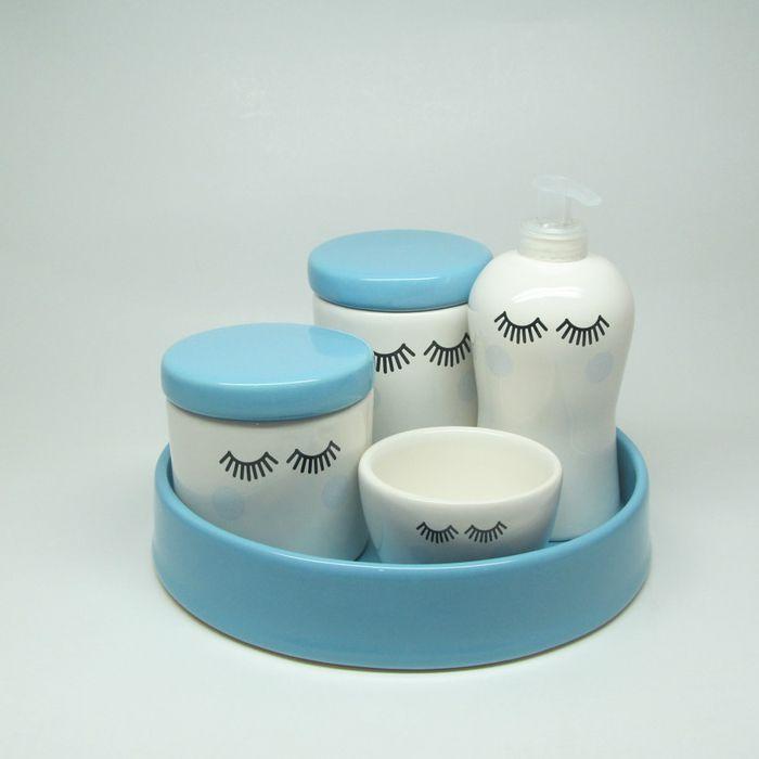 kit de higiene Cerâmica 5 peças- Cílios rosa  - Gatinhando Quarto dos Sonhos