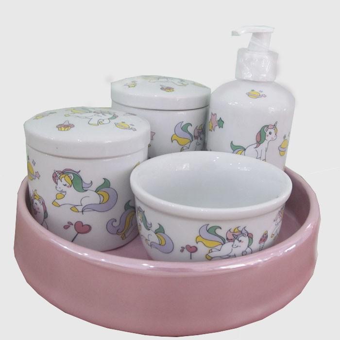 Kit de higiene em Louça 5 pç - Unicórnio  - Gatinhando Quarto dos Sonhos