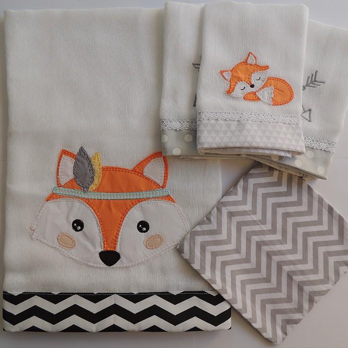 Kit presente raposa - 5 peças  - Gatinhando Quarto dos Sonhos