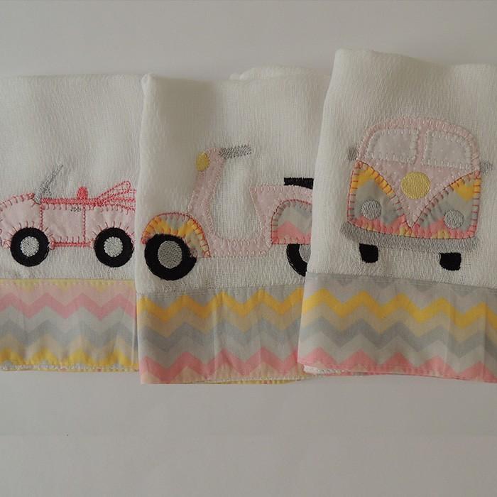 Kit presente transportes - 5 peças - Rosa   - Gatinhando Quarto dos Sonhos