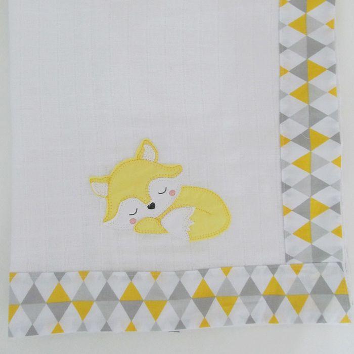 Toalha de banho fralda - Raposa amarela  - Gatinhando Quarto dos Sonhos