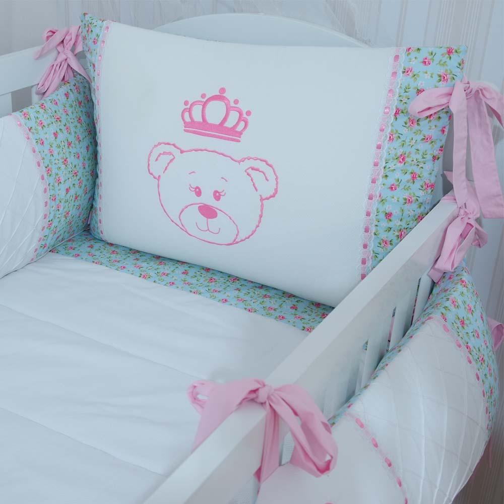 Kit de berço (9 peças) Princesa Ursa  - Gatinhando Quarto dos Sonhos
