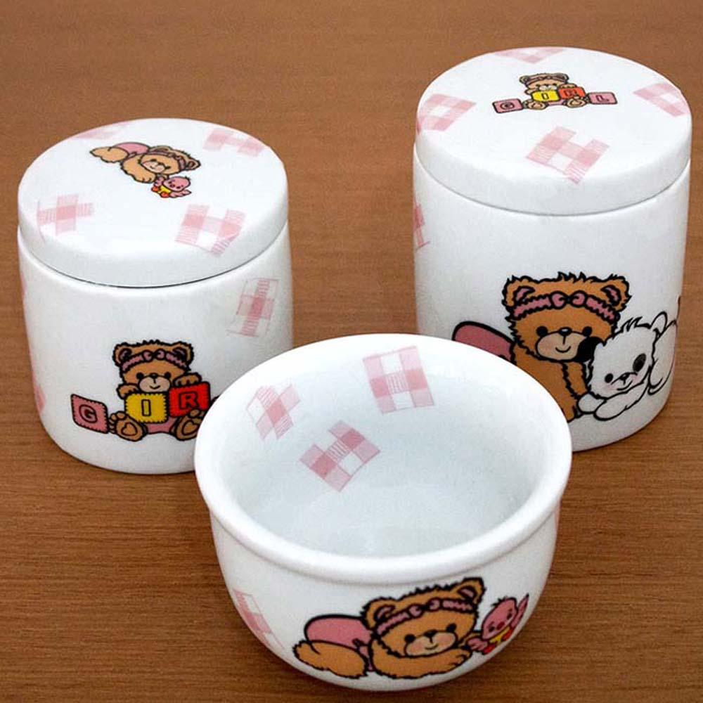 Kit de higiene Porcelana Ursa Xadrez 3 peças  - Gatinhando Quarto dos Sonhos