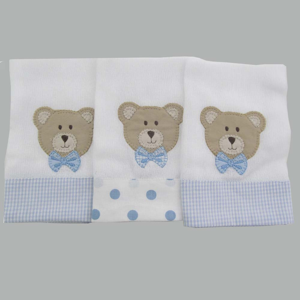 Jogo de fraldas de boca 3 peças - Urso de gravata  - Gatinhando Quarto dos Sonhos