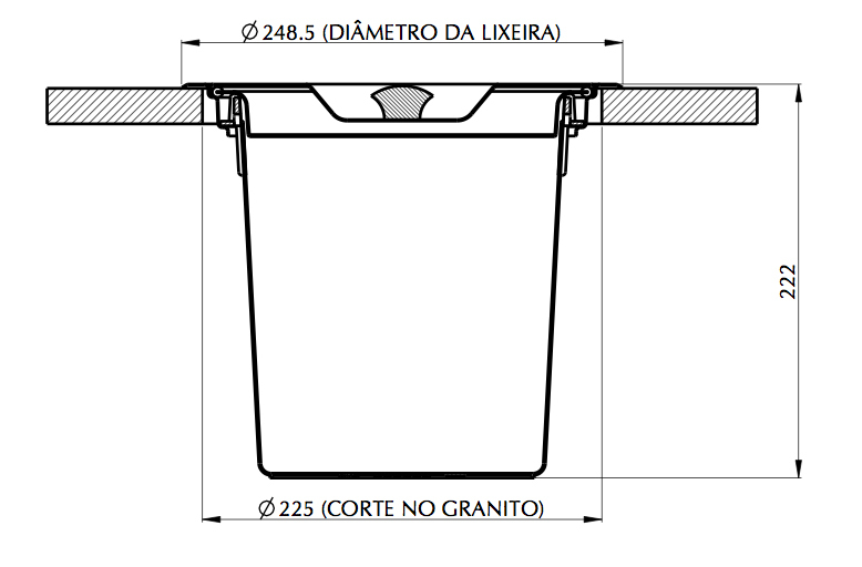 Lixeira para Granito 5 Litros Inox/Plastico Tramontina 94518/005