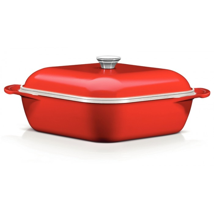 Caçarola Quadrada LYON 28 cm Vermelha Tramontina Design Collection 20943/728
