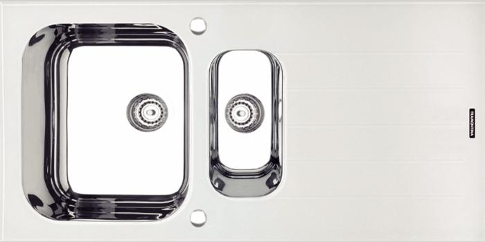 Pia para granito com tampo em vidro temperado branco Vitra 1.5C 34 Dimensões Produto (Compr. X Larg. X Alt.): 1000x500x178 mm 93952/273