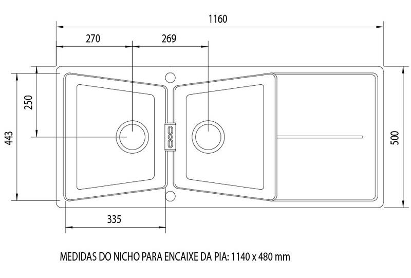 Pia de Quartzo 2 Cubas + Escorredor 1160x500mm Carbonium Tramontina 93962/001